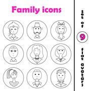 Set of line family icons in round frame - stock illustration