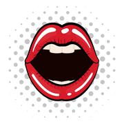 Female mouth icon. Pop art design. Vector graphic - stock illustration