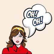 Girl cartoon icon. Pop art design. Vector graphic - stock illustration