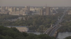 Kiev (Kyiv). Ukraine. View of the city. The Dnipro River. Stock Footage