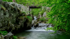 Picos de Europa Hidden Stream and Wooden Bridge On The Hiking Trails 4K Stock Footage