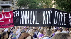 24th Annual Dyke March banner in Gay Parade in NYC - stock footage