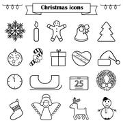 Set of line Christmas icons isolated Stock Illustration