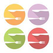 Fork And Knife Logo Flat Icons Set Stock Illustration