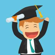 Graduation cap and cartoon  icon. University design. Vector grap - stock illustration