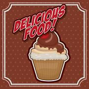 Cupcake icon. Sweet food product. Vector graphic - stock illustration