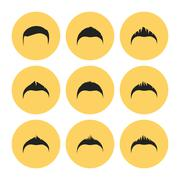 Male Haircut Flat Icons Set Stock Illustration