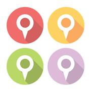 Navigation Map Location Pin Flat Icons Set Stock Illustration