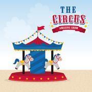 Carousel icon. Circus and Carnival design. Vector graphic Stock Illustration