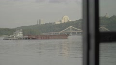 Barge floating on the river Dnepr Stock Footage