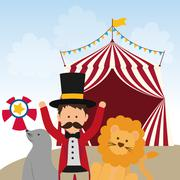 Lion, seal and tamer icon. Circus and Carnival design. Vector gr - stock illustration