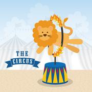 Lion icon. Circus and Carnival design. Vector graphic Stock Illustration
