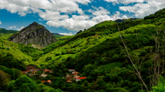 Time lapse of the lush green hilly mountain scape of Picos de Europa 4K Stock Footage