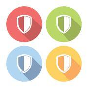 Shield Guard Emblem Flat Icons Set - stock illustration