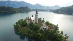 Top view of the Church of the Assumption of the Virgin Mary on the Lake Bled Stock Footage