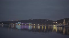 Kiev (Kyiv)  in the evening. City landscape : the river Dnepr in the night Stock Footage