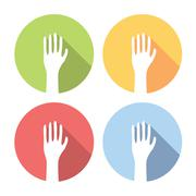 Voting Hands Flat Icons Set Stock Illustration