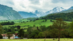 Time lapse of the lush green hilly mountain scape of Picos de Europa  Stock Footage