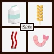 Food icon set. Nutrition and Organic design. Vector graphic Stock Illustration