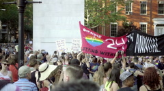 24th Annual Gay Pride Parade banner in Washington Square Park in NYC Stock Footage