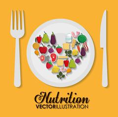Food icon set. Nutrition and Organic design. Vector graphic - stock illustration