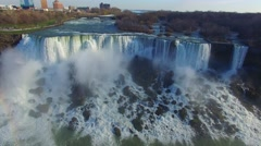 Slow sideway gliding in front of large waterfalls in Niagara Stock Footage