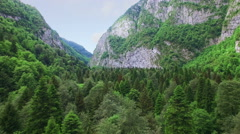 Aerial view above Caucasus mountain Stock Footage