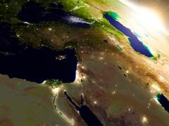 Middle East from space during sunrise Stock Illustration