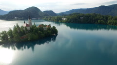 Top view of the Church of the Assumption of the Virgin Mary on the Lake Bled - stock footage