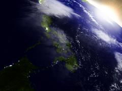 Philippines from space during sunrise - stock illustration