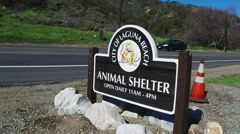 Close Up City Of Laguna Beach CA Animal Shelter Sign Stock Footage