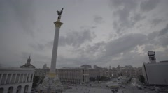 """""""Maidan"""". Independence square at sunset. Kiev (Kyiv). The center of the city. Stock Footage"""