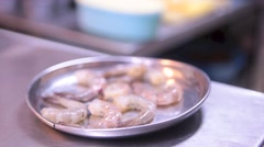 Shrimp Plate in Singapore Indian Restaurant Stock Footage