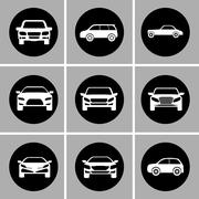 White cars set. Transportation design. Vector graphic Stock Illustration