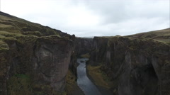 Aerial Of Colossal Canyon In Iceland  Stock Footage