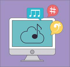 Computer icon. Music online and Technology. Vector graphic - stock illustration