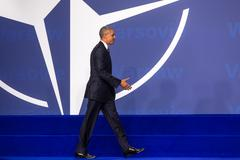 US President Barack Obama at the NATO summit in Warsaw Stock Photos