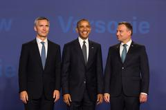 Barack Obama, Jens Stoltenberg and Andrzej Duda at NATO summit Stock Photos
