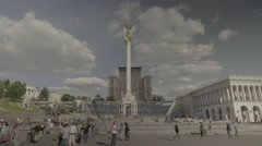 The Independence Square. The urban landscape of Kiev (Kyiv) . People in the city Stock Footage