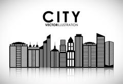 Building and tower icon. City design. Vector graphic - stock illustration