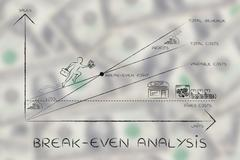 Graph with CEO climbing results, break-even analysis Stock Illustration