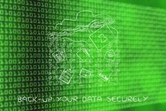 cloud with lock & document transfer rain, back-up data securely - stock illustration