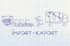 factory, parcels & delivery truck with world map; import-export - stock illustration