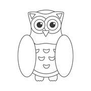 Owl bird flat icon, wisdom symbol - stock illustration
