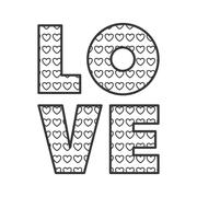 Love word with heart shape Stock Illustration