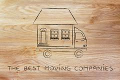 movers' truck with house on top, the best companies - stock illustration
