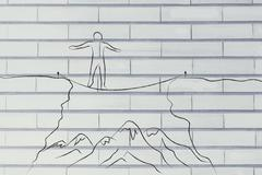 Man tight rope walking over a cliff Stock Illustration