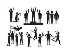 Winning runner winners, success sport flat vector Stock Illustration