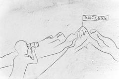 Man with binoculars looking at Success banner on a mountain top Stock Illustration