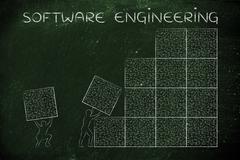 Men lifting blocks of messy binary code, software engineering Stock Illustration